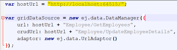Navigate to the path ../client/Employee.js and ensure the hosted server URL