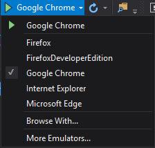 Visual Studio Debug Target Menu