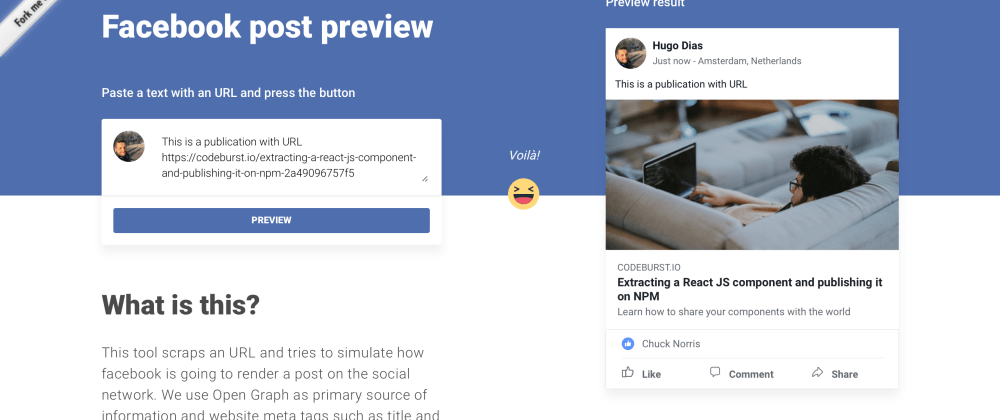 Cover image for Facebook post preview with ReactJS and AWS Lambda