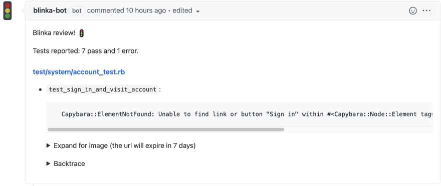 Blinka posts a comment on Github pull request with test results.