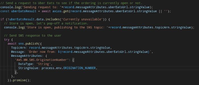 "TypeScript / AWS SDK for Javascript / SNS ""publish"""