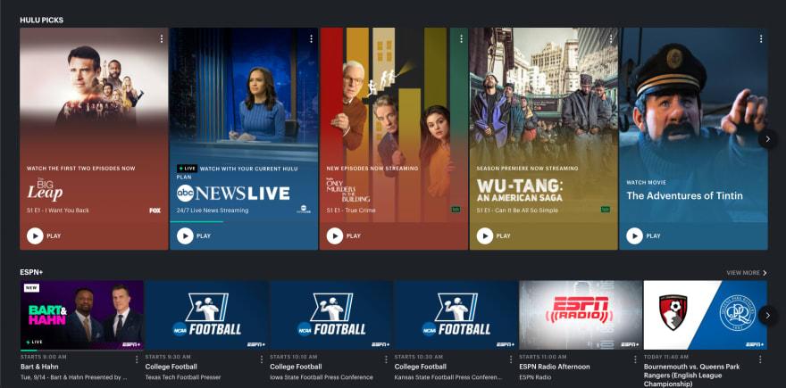 Hulu website section