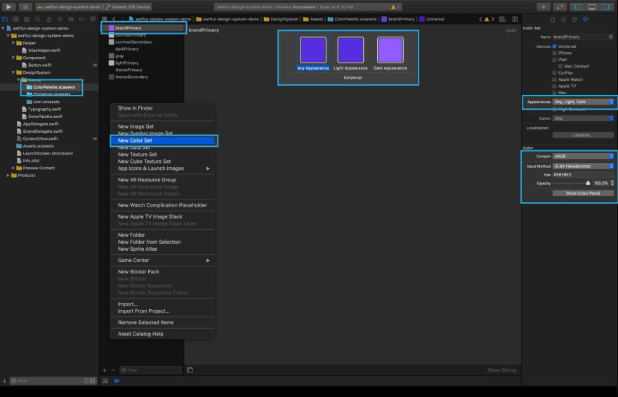 How to add color asset in Xcode