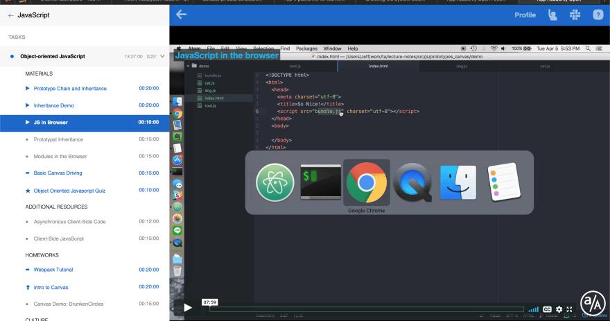 JavaScript section screenshot of App Academy Open
