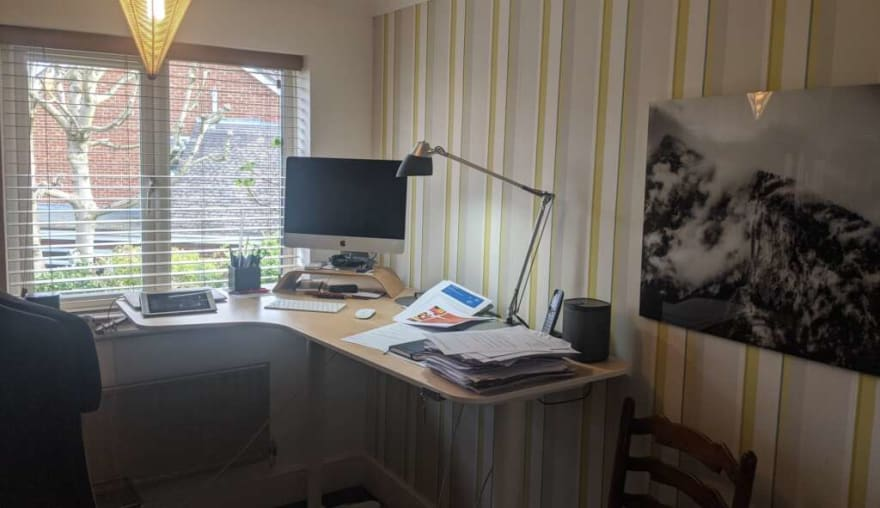 An example home working desk in a home office