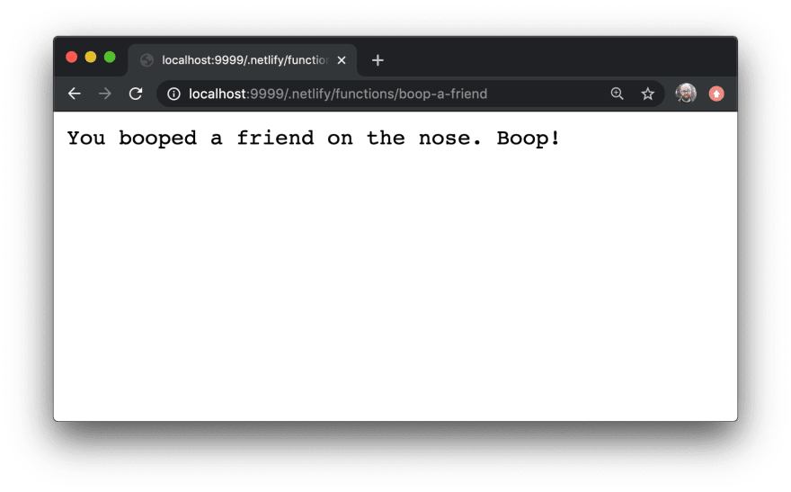 """Browser showing output without a query parameter: """"You booped a friend on the nose. Boop!"""""""