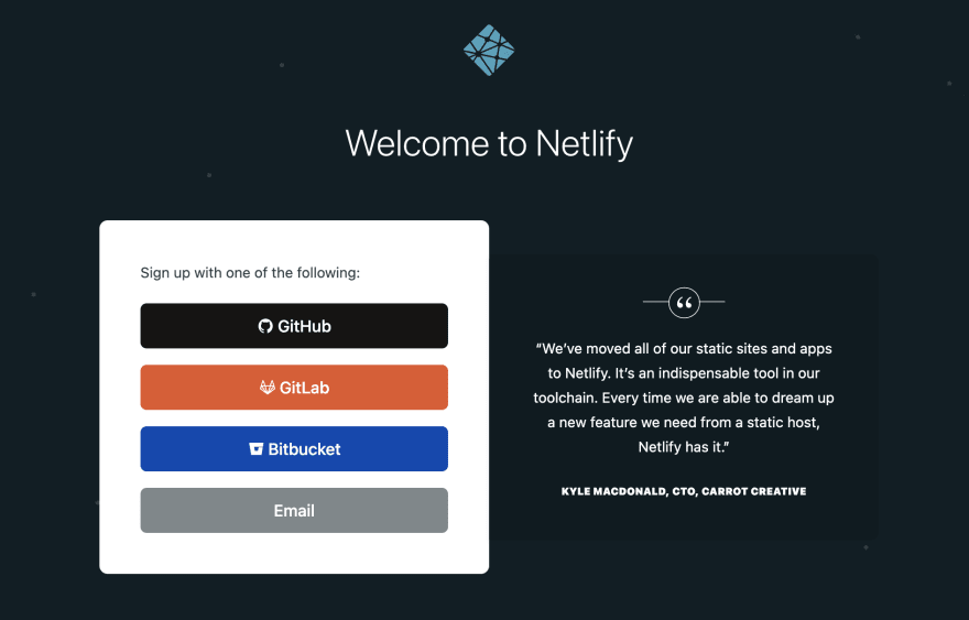 Sign Up to Netlify