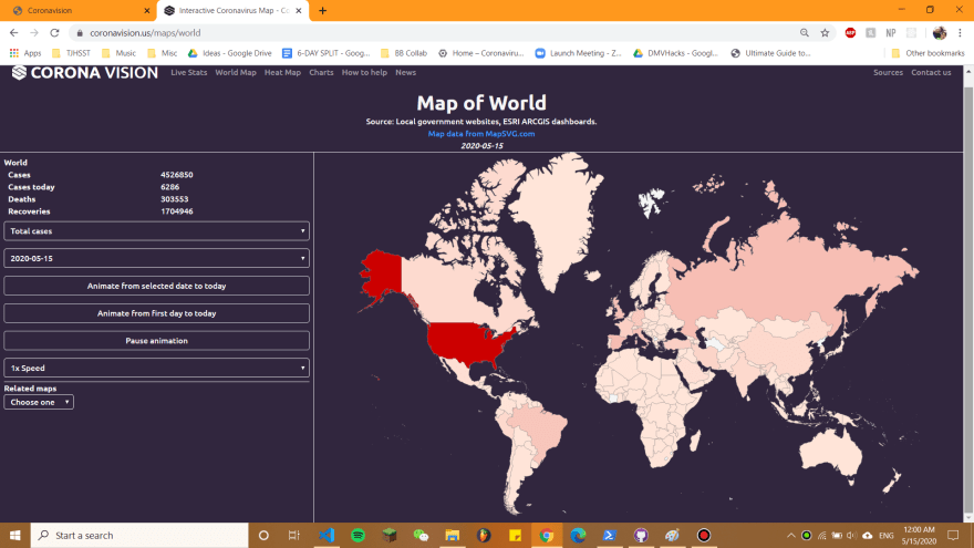 World Map of Coronavirus Case Counts
