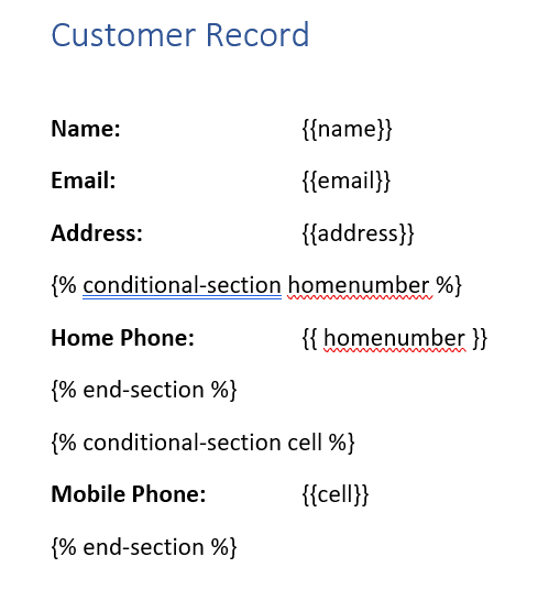Customer information with tags