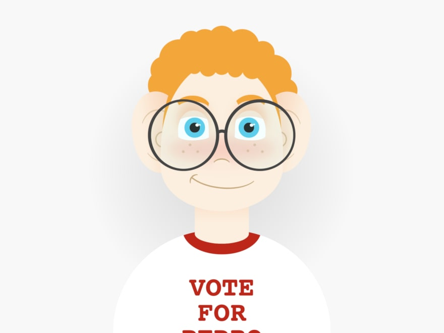 "Cartoon of a ginger boy with curly hair, big glasses, and a t-shirt that reads ""Vote for Pedro"""