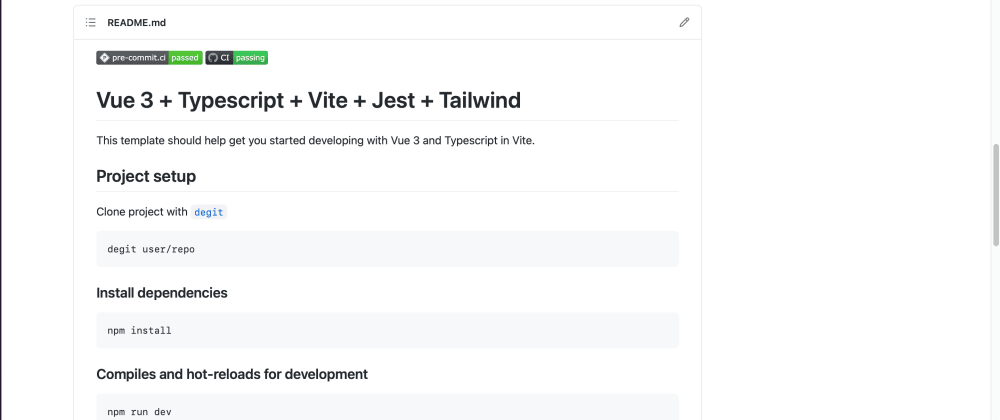 Cover image for Vite vue ts tailwind template: Create repo from vue-ts template