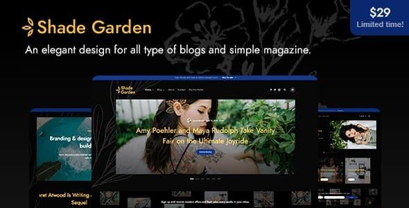 Shadegarden – creative blog WordPress theme