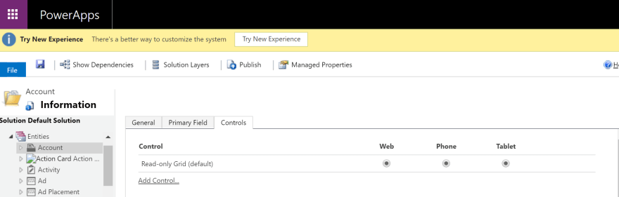 Account Entity in Default Solution