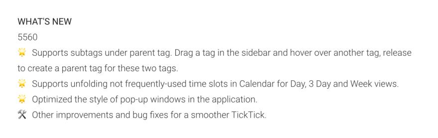 TickTick Android Changelog