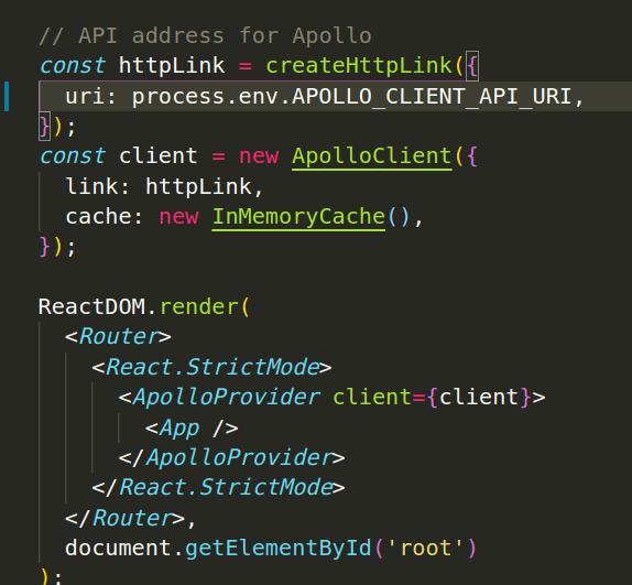 Apollo setup code sample