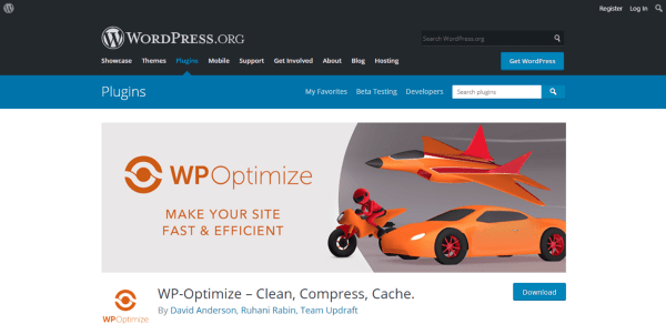 WP-Optimize can speed up your website by cleaning the data, compressing code, and cache as well
