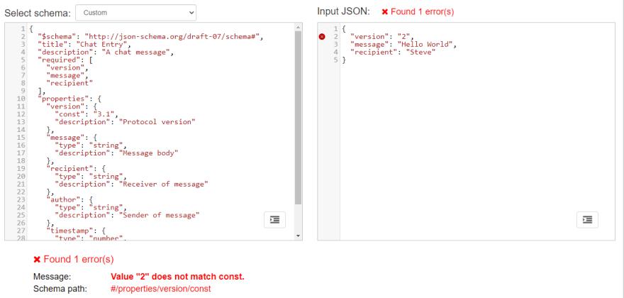 Validation error example