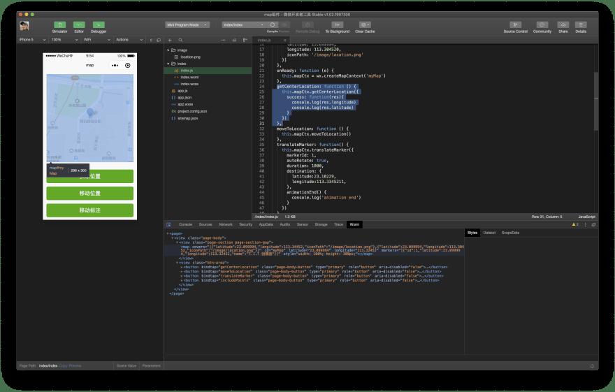WeChat `<map>` component sample running in WeChat DevTools