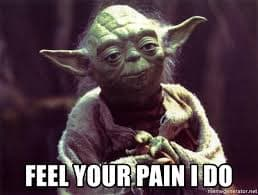 A picture of Yoda saying: feel your pain I do