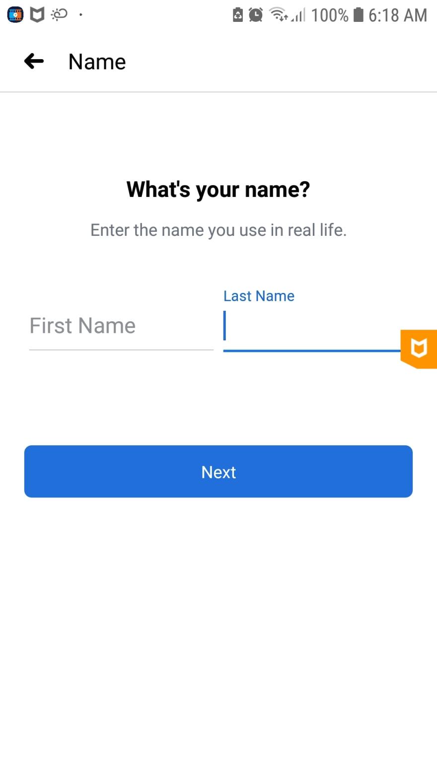 Facebook's sign up form