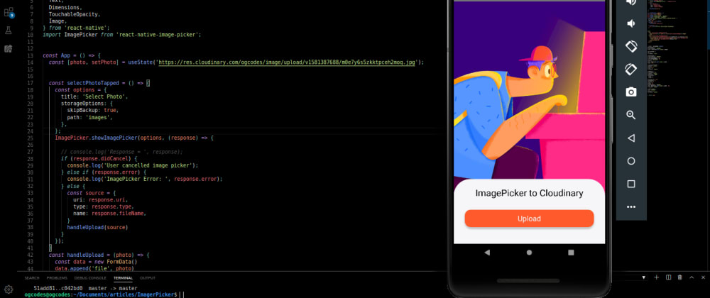 Cover image for React Native : How to upload an image to Cloudinary.