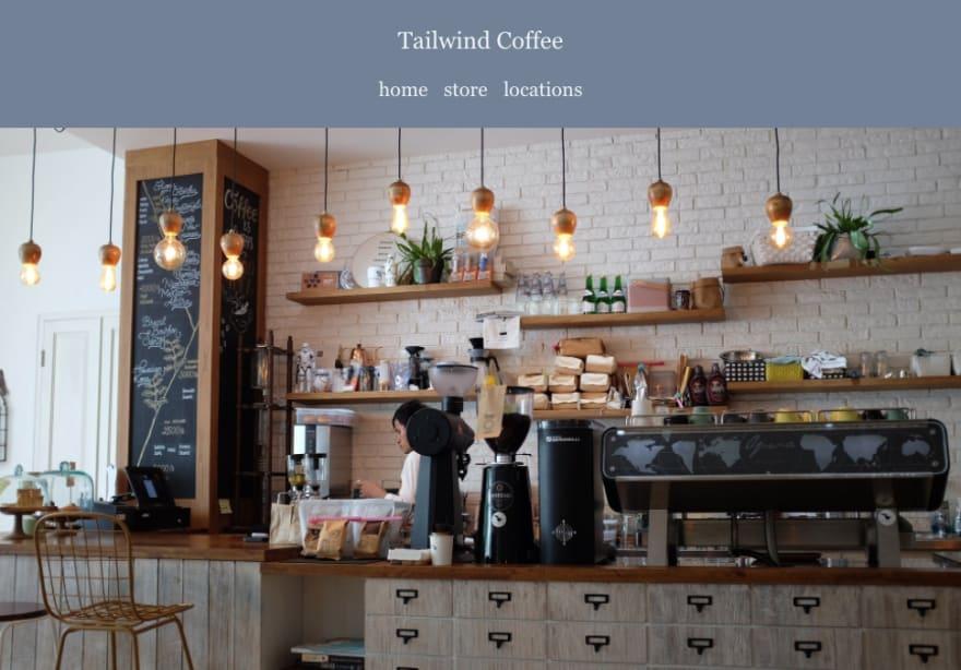 tailwind coffee header