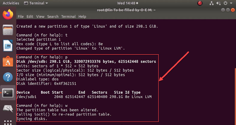 System type Linux LVM