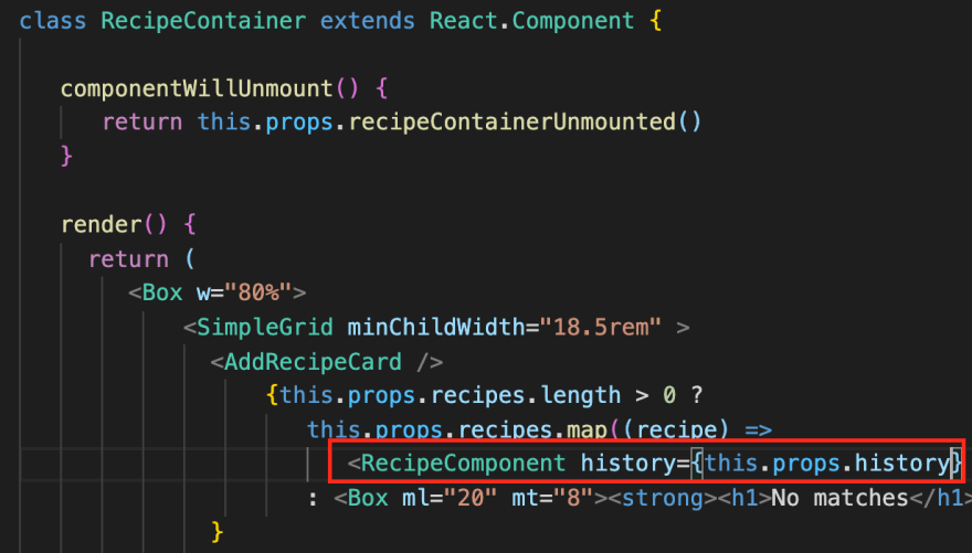Passing history prop from RecipeContainer to RecipeComponent