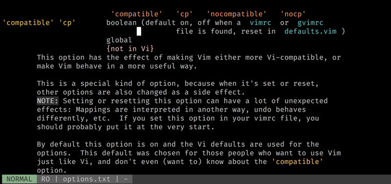 A screenshot of vim's help for the compatible option