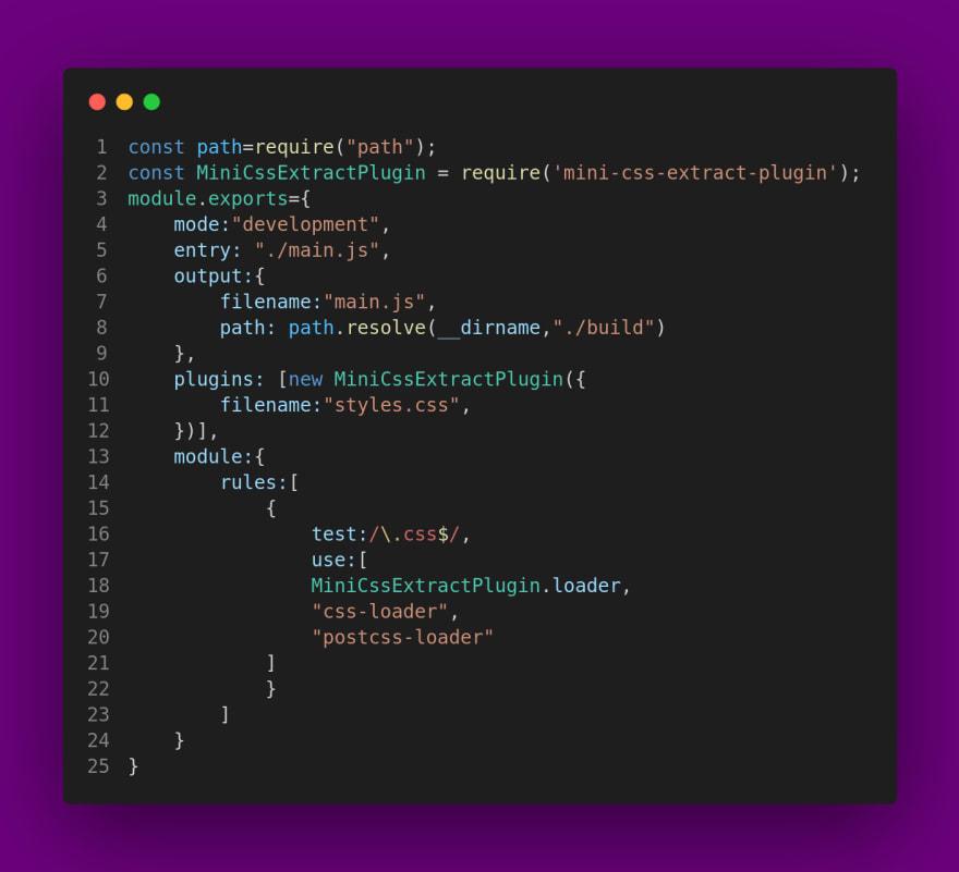 webpack config file