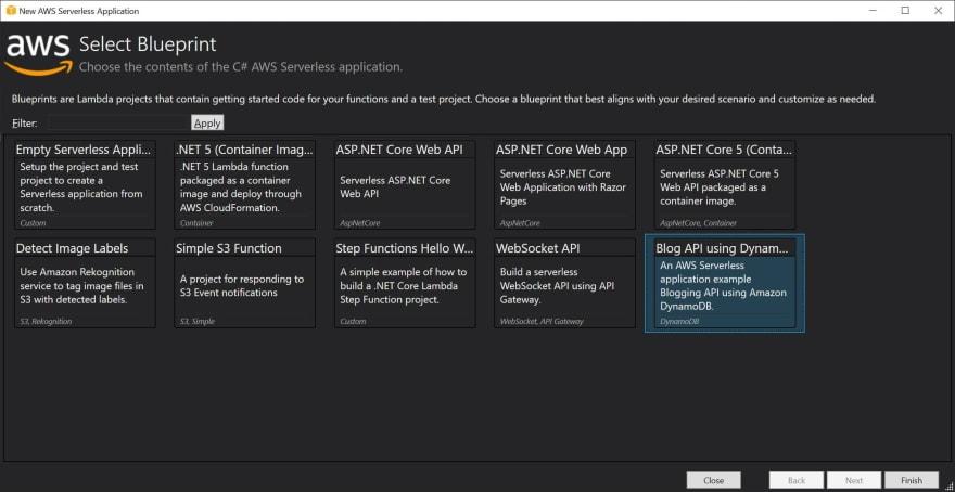 AWS Serverless Application Template Blueprint, Blog API using DynamoDB
