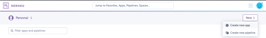 """Selecting """"Create new app"""" from the Heroku dashboard"""
