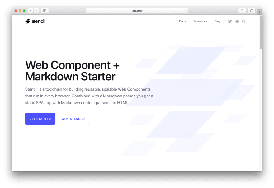 Screenshot of Web Component Markdown Starter template