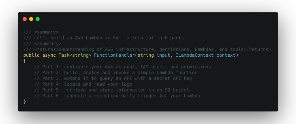 Cover image for Let's Build an AWS Lambda in C#!