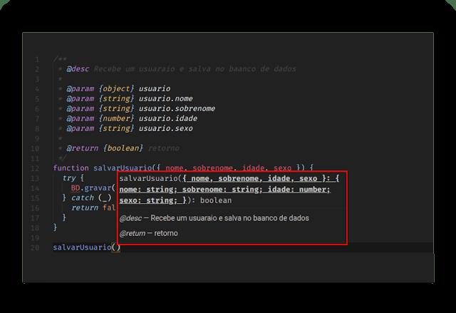 Prévia de código tipado