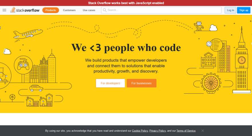 Stackoverflow Homepage with JavaScript disabled.