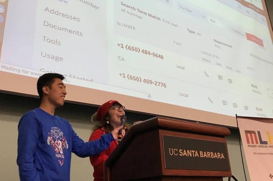 Lizzie laughing at Major League Hacking UC Santa Barbara