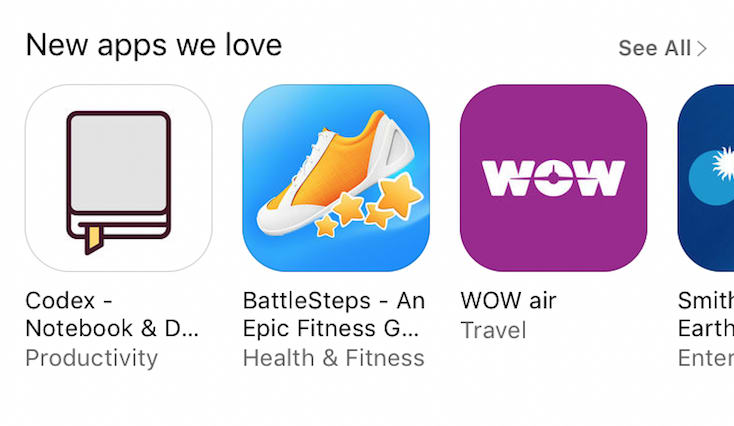 Codex was featured by Apple in the App Store.