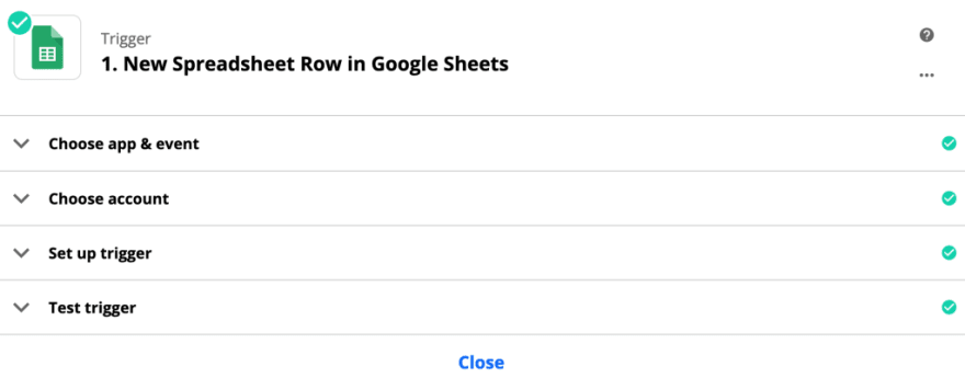 Configuring Google Sheets in a zap