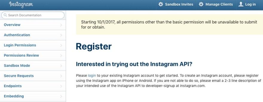 Instagram Developer Page