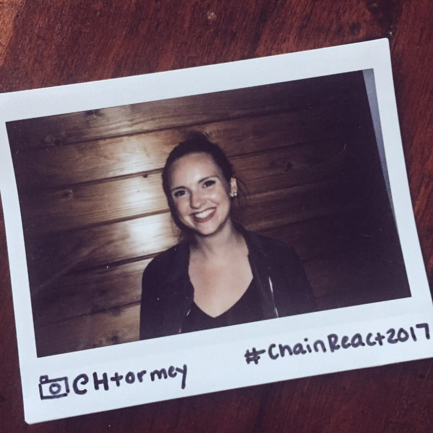 A picture of Emma at Chain React 2017