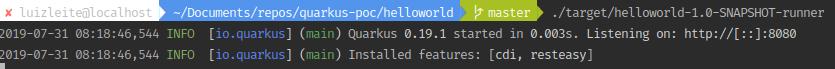 Imagem mostrando terminal e quarkus do app rodando em 0.003 segundos
