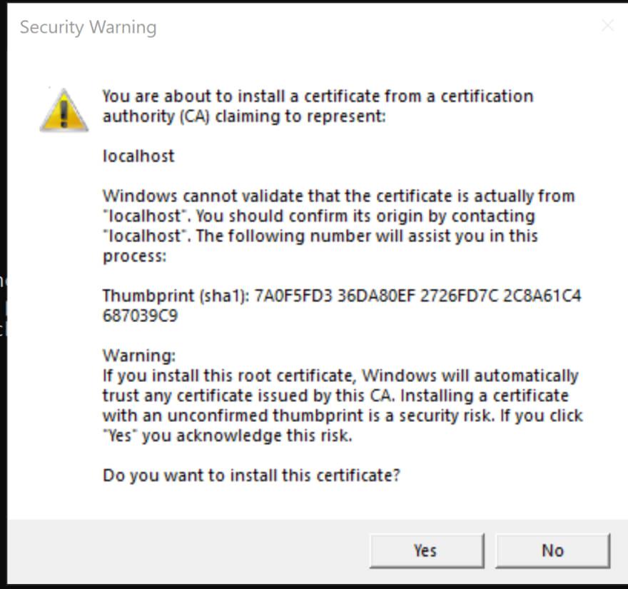 Install Developer https cert
