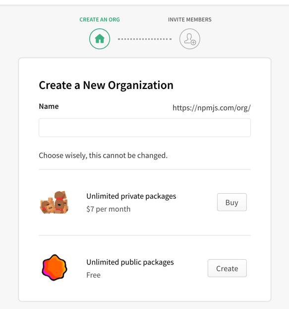 Add an organization in NPM