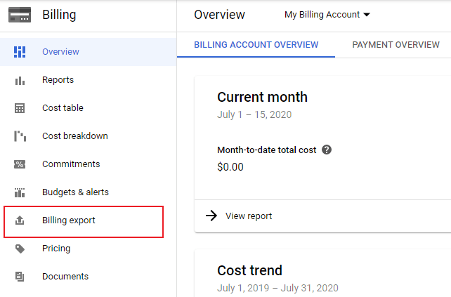 GCP Billing View with selection around Billing Export
