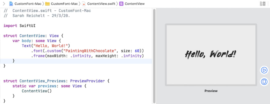 Font in use in Mac app