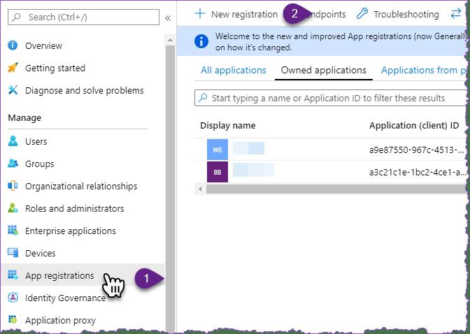 app registrations