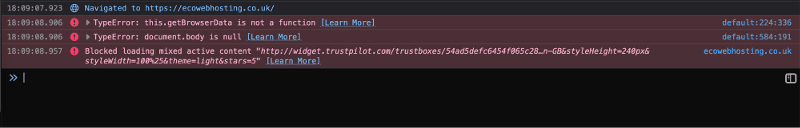 Screenshot of the mixed content warning in the browser console.