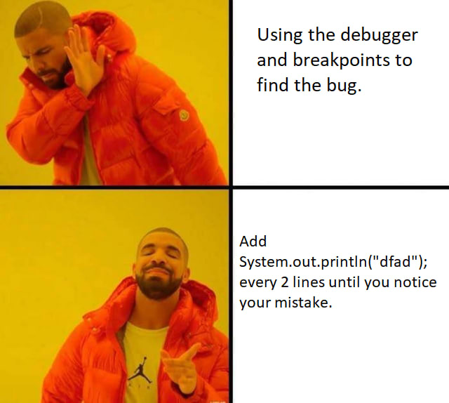 Print statement debugging meme
