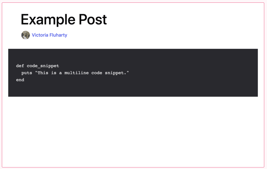 example of using a multiline code snippet displayed in preview mode